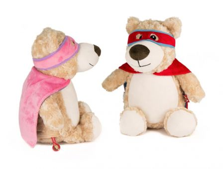 Superheld Teddy mit Stickerei
